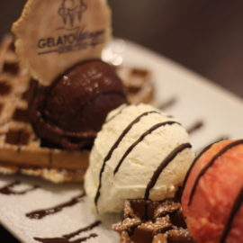 waffles with freshly whipped cream and gelato at Gelato Village Leicester