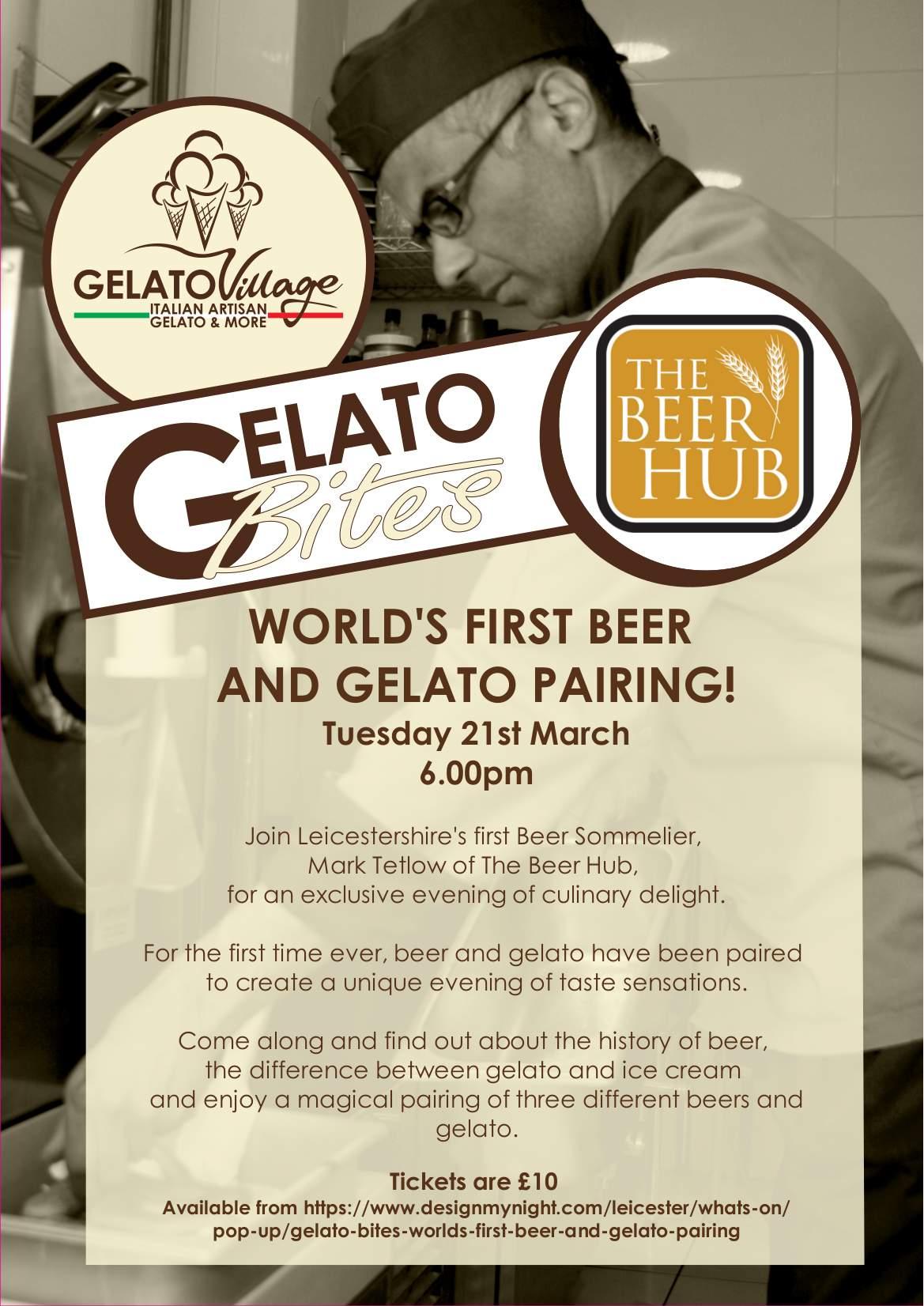 gelato bites poster beer and gelato pairing