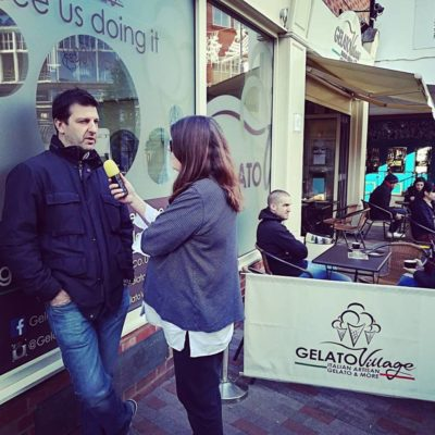 Bridget Blair from BBC Leicester interviews Gelato Village in Leicester