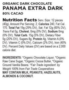 Ingredients label for competitor chocolate with added vanilla